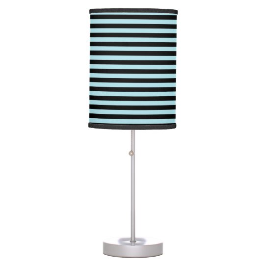 Pastel Blue and Black Stripes Table Lamps