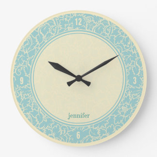 Pastel Blue And Creme Floral Damasks Wall Clock