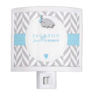 Pastel Blue and Gray Elephant Design Nite Lights