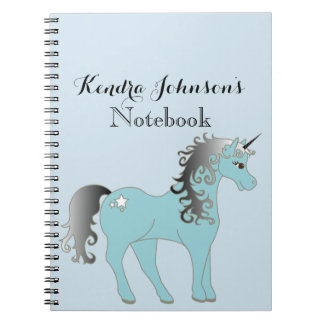 Pastel Blue and Gray Unicorn   Personalized Notebook