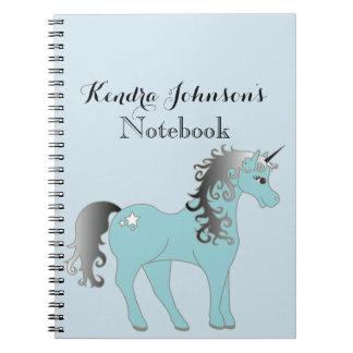 Pastel Blue and Gray Unicorn | Personalized Notebooks