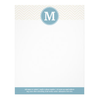 Pastel Blue and Linen Chevrons Custom Monograms Letterhead