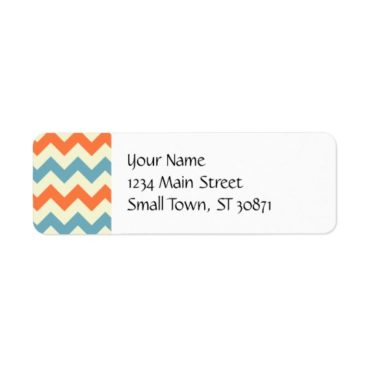 Pastel Blue and Orange Chevron Stripes Zig Zags Return Address Label