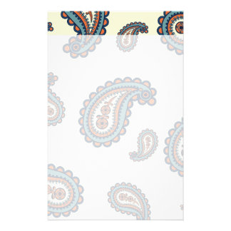 Pastel Blue and Orange Paisley Pattern Customized Stationery