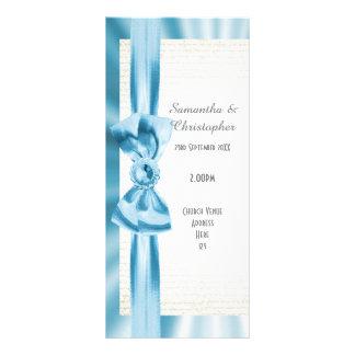Pastel blue and white bow church wedding program