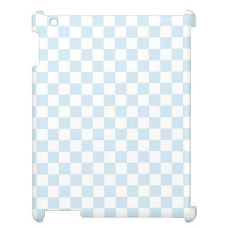 Pastel Blue and White Checkerboard iPad Cases