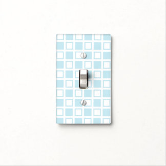 Pastel Blue and White Squares Light Switch Cover