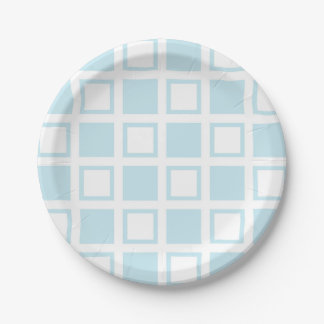 Pastel Blue and White Squares Paper Plate