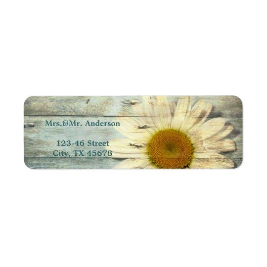 pastel blue barnwood country daisy wedding return address label