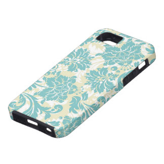Pastel Blue Beige & White Vintage Floral Design iPhone 5 Covers