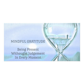 Pastel Blue Calming Yoga Hourglass Gratitude Card