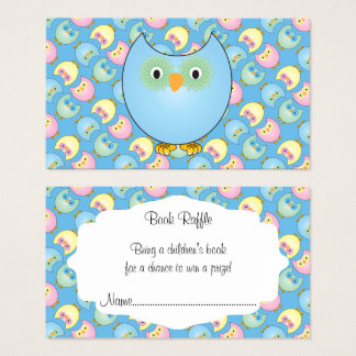 Pastel Blue Cute Owl Baby Book Raffle Business Card