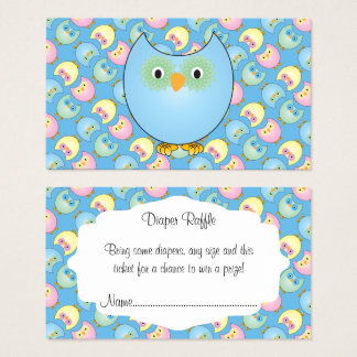 Pastel Blue Cute Owl Baby Diaper Raffle Business Card
