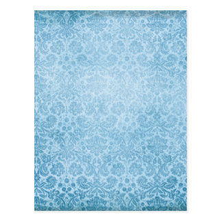 Pastel Blue Damasks Faded Pattern Postcards