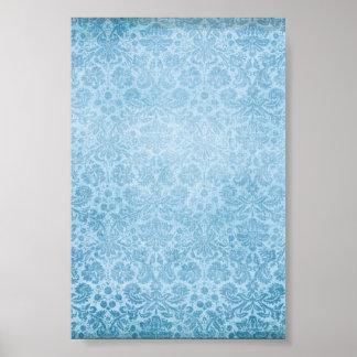 Pastel Blue Damasks Faded Pattern Print