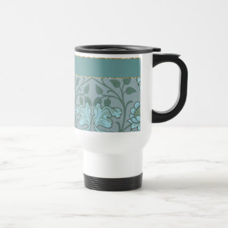 Pastel Blue Decorative Flowers Stainless Steel Travel Mug