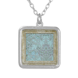 Pastel Blue Decorative Flowers Silver Plated Necklace