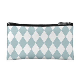 Pastel Blue Diamond Pattern Makeup Bag