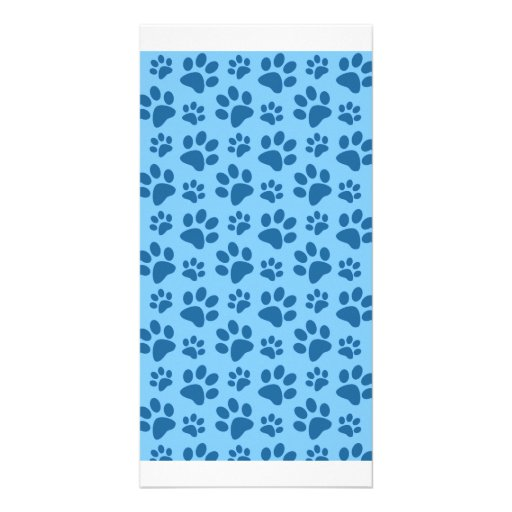 Pastel blue dog paw print pattern custom photo card