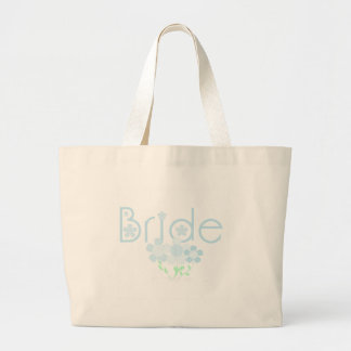 Pastel Blue Flowers Bride Large Tote Bag