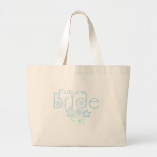 Pastel Blue Flowers Future Bride Large Tote Bag