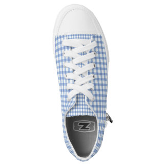 Pastel Blue Gingham Check Pattern Low-Top Sneakers