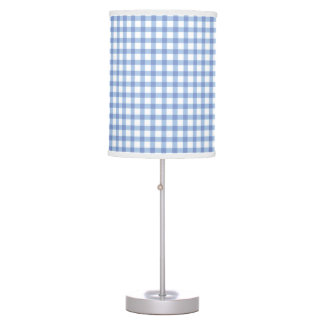 Pastel Blue Gingham Check Pattern Table Lamp