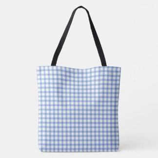 Pastel Blue Gingham Check Pattern Tote Bag