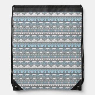 Pastel Blue Girly Trendy Aztec Drawstring Backpack