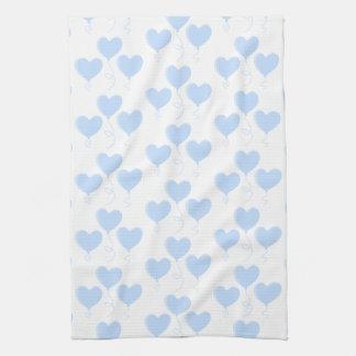 Pastel Blue Heart Balloon Pattern. Kitchen Towel
