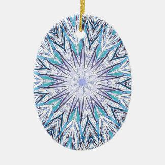 Pastel Blue Lavender White Snowflake Mandala Ceramic Oval Ornament