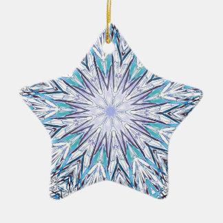 Pastel Blue Lavender White Snowflake Mandala Ceramic Star Ornament