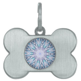Pastel Blue Lavender White Snowflake Mandala Pet ID Tag
