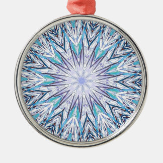 Pastel Blue Lavender White Snowflake Mandala Silver-Colored Round Ornament