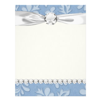 pastel blue leaf swirl floral flower damask letterhead