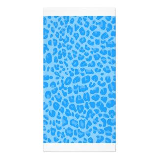 Pastel blue leopard print pattern picture card