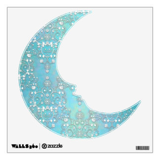 Pastel Blue Man on the Moon Damask Wall Decal