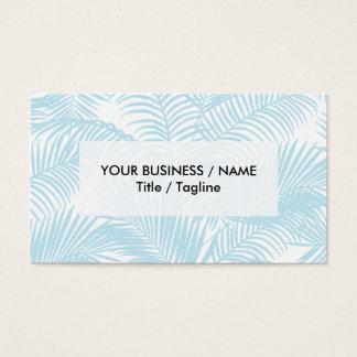 Pastel blue modern simple tropical palm tree flora business card