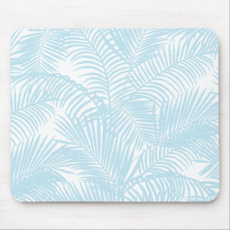 Pastel blue modern simple tropical palm tree flora mouse pad