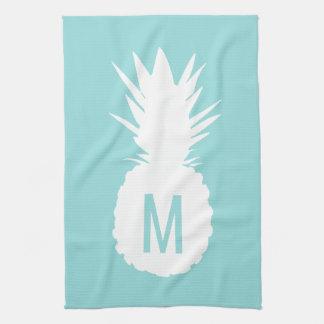 pastel blue monogram pineapple kitchen towel