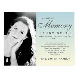 Pastel Blue Ombré Memorial Family Acknowledgement Postcard
