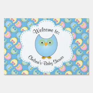 Pastel Blue Owl Baby Boy Shower Theme Sign