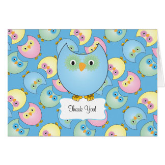 Pastel Blue Owl Baby Shower Thank You Card
