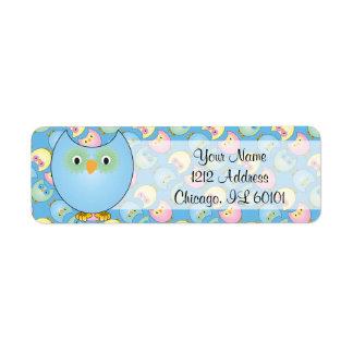 Pastel Blue Owl Baby Shower Theme Return Address Label