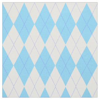 Pastel Blue Plaid Argyle Pattern Fabric