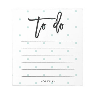 Pastel Blue Polka Dots and Typography To Do List Notepads