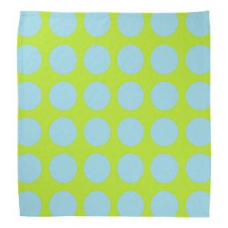 Pastel Blue Polka Dots Lime Green Bandanas