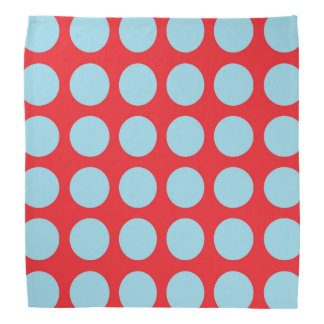 Pastel Blue Polka Dots Red Bandana