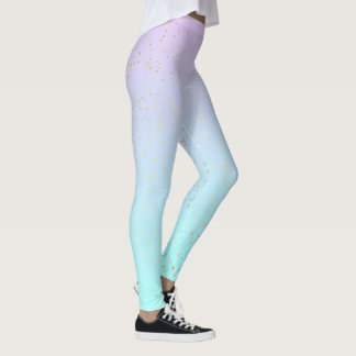 Pastel Blue Purple and Gold Effect Dots Yoga Leggings