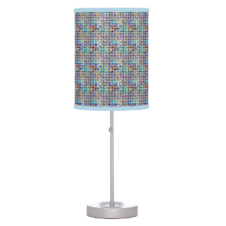 Pastel Blue Purple and Teal Pattern Table Lamp